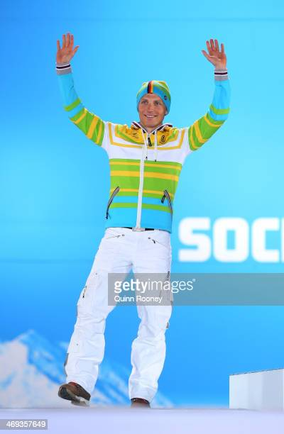 Silver medalist Erik Lesser of Germany celebrates during the medal for the Men's Individual 20 km on day 7 of the Sochi 2014 Winter Olympics at...