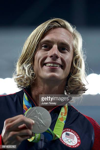 Silver medalist Evan Jager of the United States poses during the medal ceremony for the Men's 3000m Steeplechase Final on Day 12 of the Rio 2016...