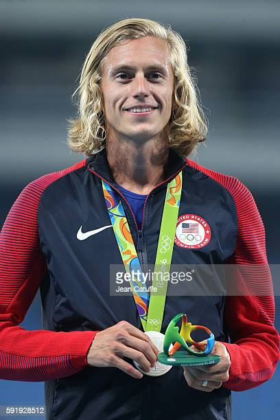 Silver medalist Evan Jager of USA poses during the medal ceremony for the Men's 3000m Steeplechase on day 12 of the Rio 2016 Olympic Games at Olympic...