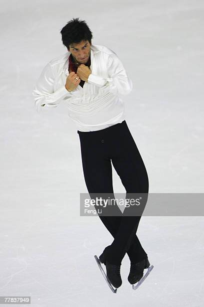 Silver medalist Evan Lysacek of USA skates in the Men Free Skating during the Cup of China Figure Skating competition which is part of the ISU Grand...