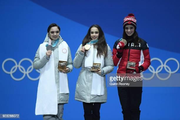 Silver medalist Evgenia Medvedeva of Olympic Athlete from Russia gold medalist Alina Zagitova of Olympic Athlete from Russia and bronze medalist...