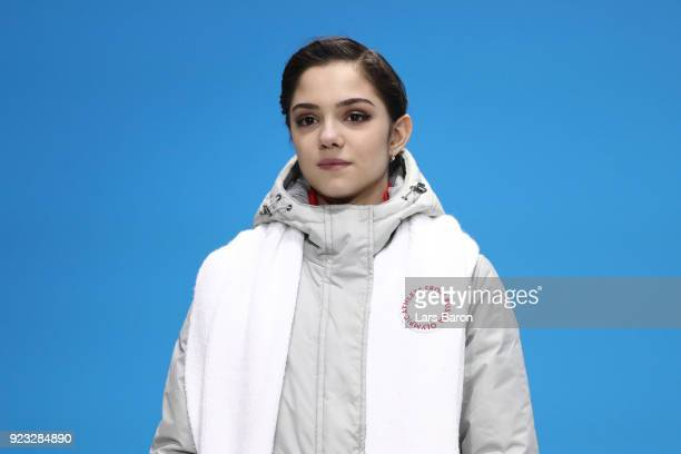 Silver medalist Evgenia Medvedeva of Olympic Athlete from Russia stands on the podium during the medal ceremony for Figure Skating Ladies' Single...