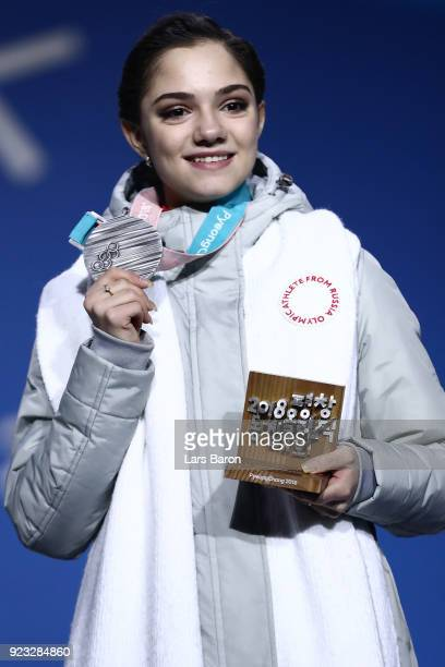 Silver medalist Evgenia Medvedeva of Olympic Athlete from Russia celebrates during the medal ceremony for Figure Skating Ladies' Single Skating on...