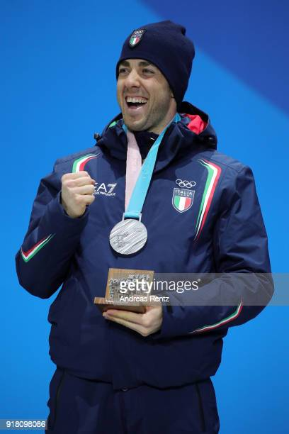 Silver medalist Federico Pellegrino of Italy poses during the medal ceremony for CrossCountry Men's Sprint Classic on day five of the PyeongChang...