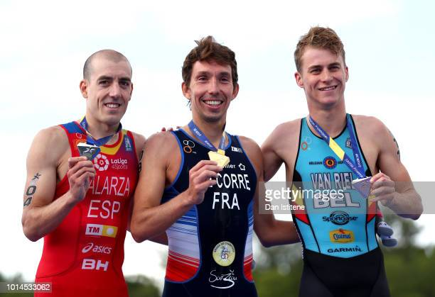 Silver medalist Fernando Alarza of Spain Gold medalist Pierre Le Corre of France and Bronze medalist Marten Van Riel of Belgium pose with their...