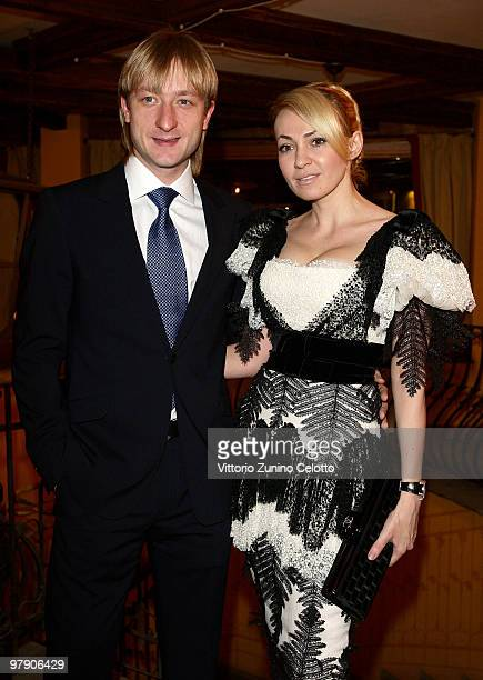 Silver medalist figure skater Evgeni Plushenko and his wife producer Yana Rudkovskaya attend the 5th World Stars Ski Event held at Grand Hotel...