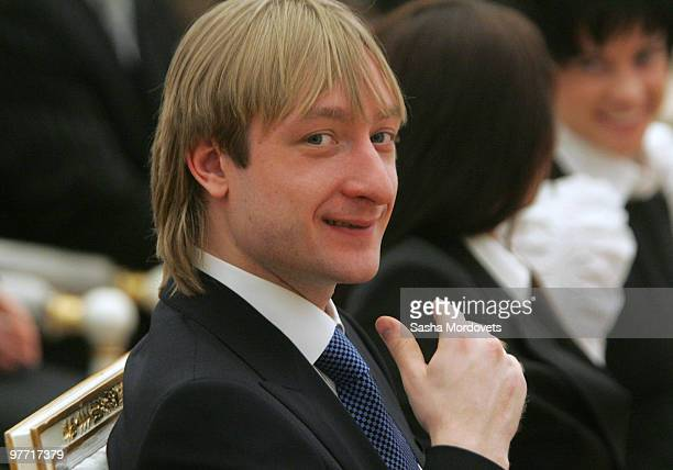 Silver medalist figure skater Evgeni Plushenko attends a ceremony at the Kremlin March 15 2010 in Moscow Russia The ceremony was held to present...