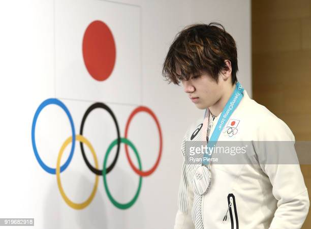 Silver Medalist Figure Skater Shoma Uno of Japan arrives during a press conference at Japan House on February 18, 2018 in Pyeongchang-gun, South...