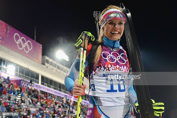 Silver medalist Gabriela Soukalova of the Czech Republic celebrates during the Women's 12.5 km Mass Start during day ten of the Sochi 2014 Winter...