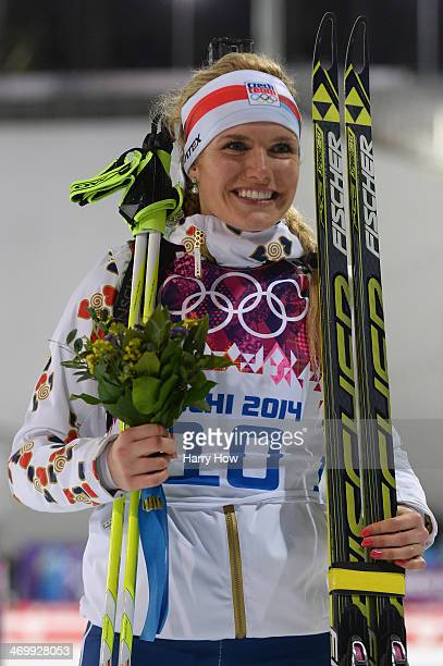 Silver medalist Gabriela Soukalova of the Czech Republic celebrates during the flower ceremony for the Women's 12.5 km Mass Start during day ten of...