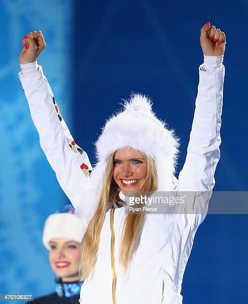 Silver medalist Gabriela Soukalova of the Czech Republic celebrates on the podium during the medal ceremony for the Women's 12.5 km Mass Start on day...