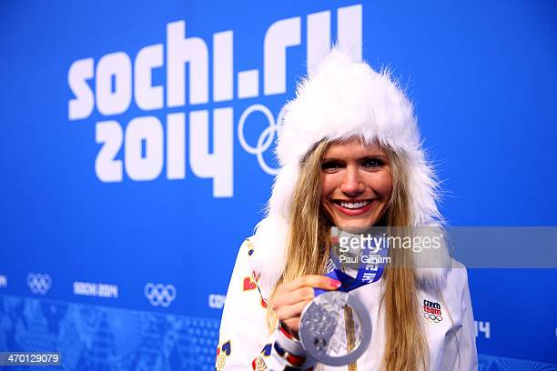 Silver medalist Gabriela Soukalova of the Czech Republic celebrates on the podium during the medal ceremony for the Women's 125 km Mass Start on day...