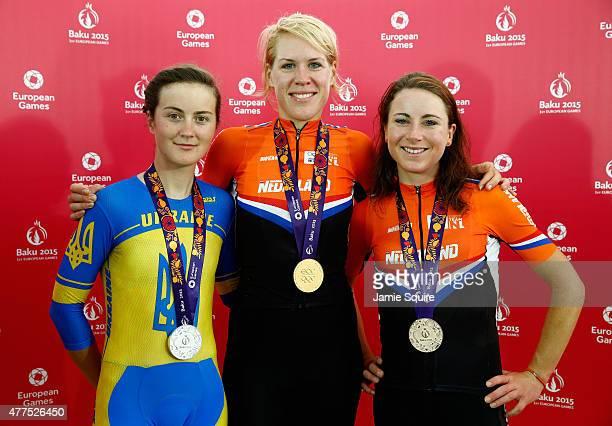 Silver medalist Ganna Solovei of Ukraine gold medalist Ellen Van Dijk of The Netherlands and bronze medalist Annemiek van Vleuten of Netherlands pose...