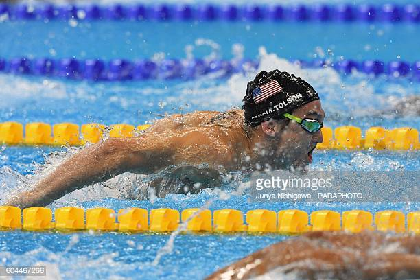 Silver medalist GARCIATOLSON Rudy of USA competes in the Men's 200m IM SM7 Final on day 6 of the Rio 2016 Paralympic Games at Olympic Aquatics...