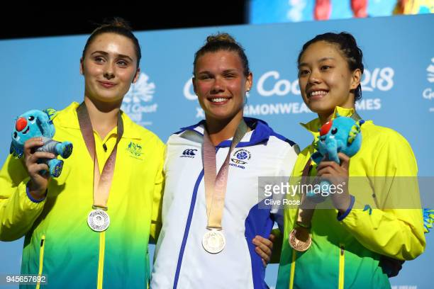 Silver medalist Georgia Sheehan of Australia gold medalist Grace Reid of Scotland and bronze medalist Esther Qin of Australia pose during the medal...