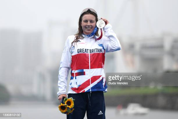 Silver medalist Georgia Taylor-Brown of Team Great Britain poses with her medal during the Women's Individual Triathlon on day four of the Tokyo 2020...