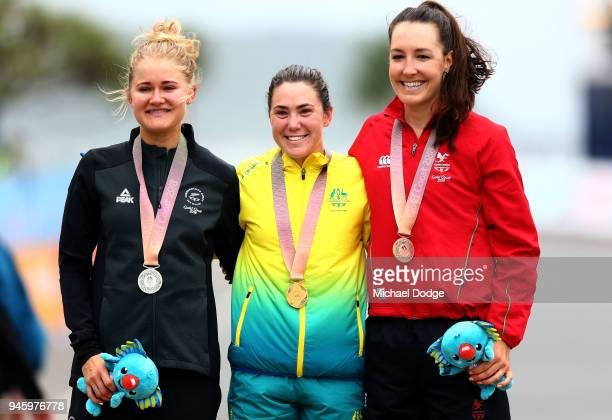 Silver medalist Georgia Williams of New Zealand gold medalist Chloe Hosking of Australia and bronze medalist Danielle Rowe of Wales pose during the...