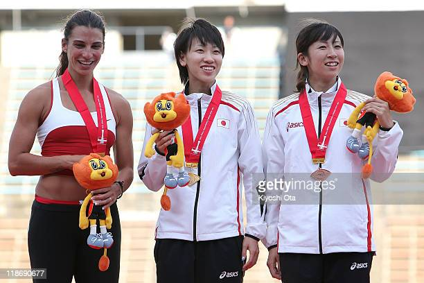 Silver medalist Gretta Taslakian of Lebanon, gold medalist Chisato Fukushima of Japan and bronze medalist Saori Imai of Japan pose after the Women's...