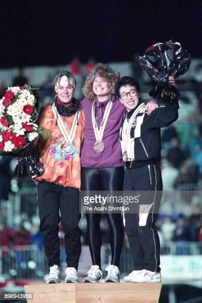 Silver medalist Gunda Niemann-Stirnemann of Germany, gold medalist Jacqueline Boerner of Germany and bronze medalist Seiko Hashimoto of Japan pose on...