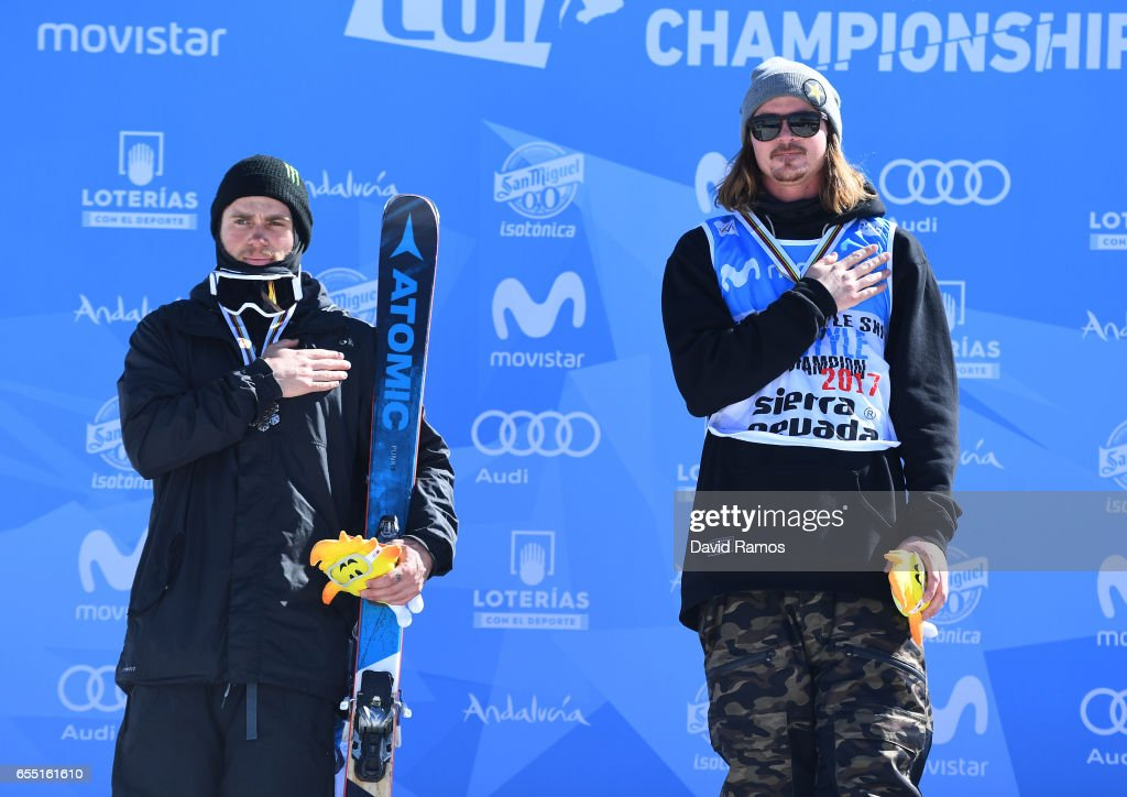 Silver medalist Gus Kenworthy of the United States and gold medalist Mcrae Williams of the United States pose during the medal cermony for the Men's Slopestyle final on day twelve of the FIS Freestyle Ski & Snowboard World Championships 2017 on March 19, 2017 in Sierra Nevada, Spain.