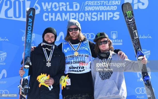 Silver medalist Gus Kenworthy of the United States gold medalist Mcrae Williams of the United States and bronze medalist James Woods of Great Britain...