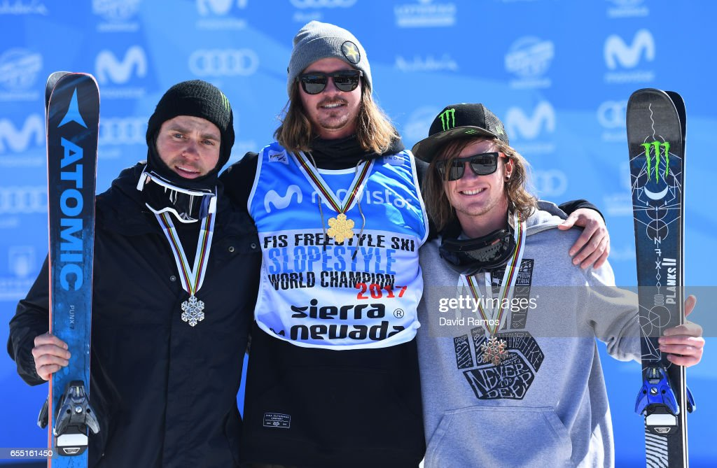Silver medalist Gus Kenworthy of the United States, gold medalist Mcrae Williams of the United States and bronze medalist James Woods of Great Britain pose during the medal cermony for the Men's Slopestyle final on day twelve of the FIS Freestyle Ski & Snowboard World Championships 2017 on March 19, 2017 in Sierra Nevada, Spain.