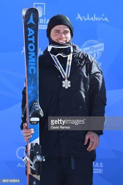 Silver medalist Gus Kenworthy of the United States poses during the medal cermony for the Men's Slopestyle final on day twelve of the FIS Freestyle...