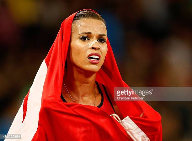 Silver medalist Habiba Ghribi of Tunisia celebrates after the Women's 3000 metres steeplechase final during day five of the 15th IAAF World Athletics...