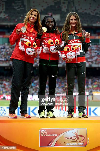 Silver medalist Habiba Ghribi of Tunisia gold medalist Hyvin Kiyeng Jepkemoi of Kenya and bronze medalist Gesa Felicitas Krause of Germany pose on...