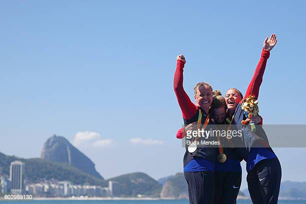 Silver medalist Hailey Danisewicz Gold medalist Allysa Seely and Bronze medalist Melissa Stockwell of the United States celebrates on the podium at...