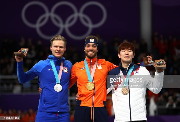 Silver medalist Havard Lorentzen of Norway gold medalist Kjeld Nuis of the Netherlands and bronze medalist TaeYun Kim of Korea pose on the podium...