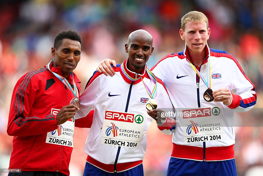 Silver medalist Hayle Ibrahimov of Azerbaijan, gold medalist Mohamed Farah of Great Britain and Northern Ireland and bronze medalist Andy Vernon of Great Britain and Northern Ireland celebrate on the podium during the medal ceremony for the Men's 5000m Final during day six of the 22nd European Athletics Championships at Stadium Letzigrund on August 17, 2014 in Zurich, Switzerland.