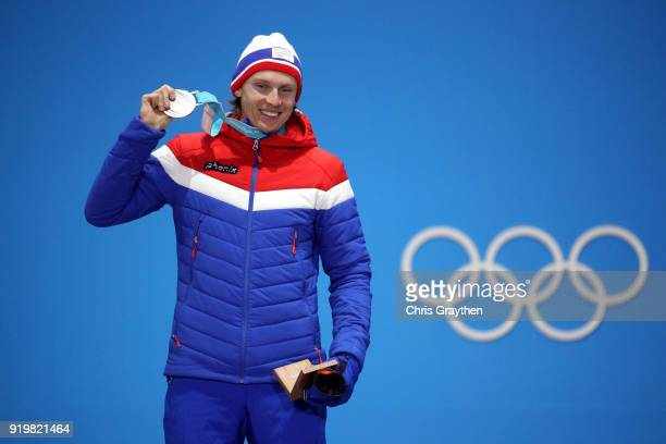 Silver medalist Henrik Kristoffersen of Norway celebrates during the medal ceremony for the Alpine Skiing Men's Giant Slalom on day nine of the...