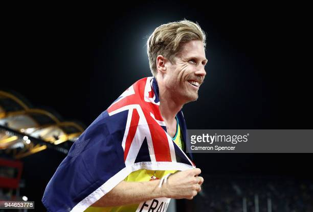 Silver medalist Henry Frayne of Australia celebrates after the Men's Long Jump final during athletics on day seven of the Gold Coast 2018...