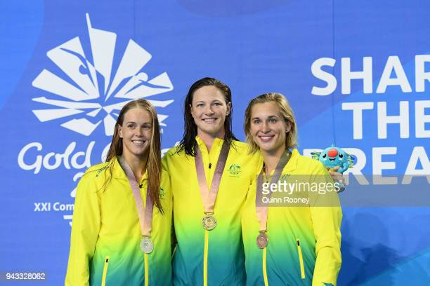 Silver medalist Holly Barratt of Australia gold medalist Cate Campbell of Australia and bronze medalist Madeline Groves of Australia pose during the...