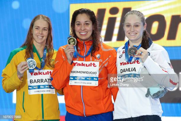 Silver medalist Holly Barratt of Australia gold medalist Ranomi Kromowidjojo of the Netherlands and bronze medalist Kelsi Dahlia of the United States...