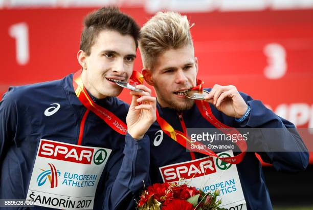Silver Medalist Hugo Hay of France and Gold Medalist Jimmy Gressier of France pose during the U23 Men's award ceremony during SPAR European Cross...