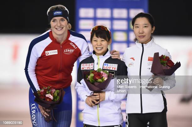 Silver medalist Ida Njatun of Norway gold medalist Nana Takagi of Japan and bronze medalist Mei Han of China pose during the medal ceremony of the...