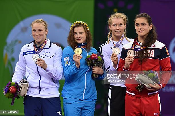 Silver medalist Ilana Kratysh of Israel gold medalist Alina Stadnik Makhynia of Ukraine bronze medalist Aline Focken of Germany and bronze medalist...