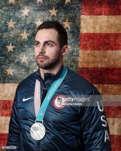 Silver medalist in the Luge Men's Singles Chris Mazdzer of the United States poses for a portrait on the Today Show Set on February 12 2018 in...