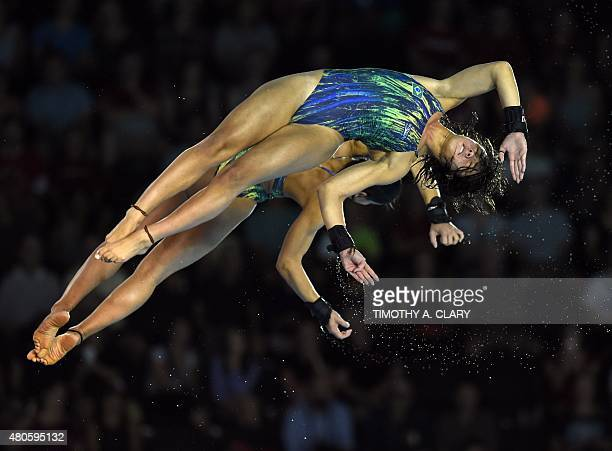 Silver medalist Ingrid De Oliveira and Giovanna Perdroso of Brazil compete during the Women's Synchonised 10m Platform Finals at the Toronto 2015 Pan...