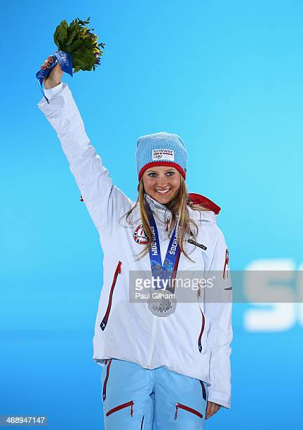Silver medalist Ingvild Flugstad Oestberg of Norway celebrates during the medal for the Ladies' Sprint Free on day five of the Sochi 2014 Winter...