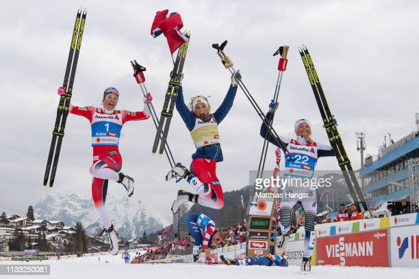 Silver medalist Ingvild Flugstad Oestberg of Norway gold medalist Therese Johaug of Norway and bronze medalist Frida Karlsson of Sweden celebrates...