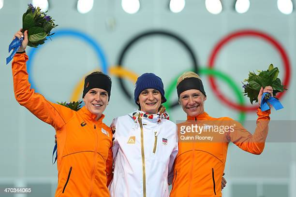 Silver medalist Ireen Wust of the Netherlands gold medalist Martina Sablikova of the Czech Republic and bronze medalist Carien Kleibeuker of the...