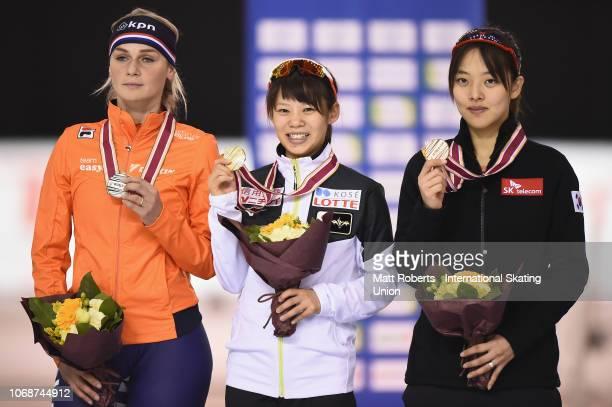 Silver medalist Irene Schouten of Netherlands gold medalist Nana Takagi of Japan and bronze medalist BoReum Kim of South Korea pose during the medal...