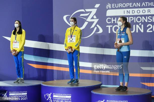 Silver medalist Iryna Heraschenko of Ukraine, gold medalist Yaroslava Mahuchikh of Ukraine and bronze medalist Ella Junnila of Finland pose for a...