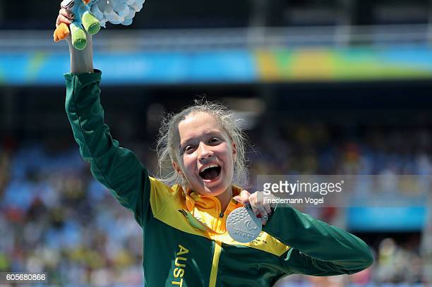 Silver medalist Isis Holt of Australia poses on the podium at the medal ceremony for the Women's 100m T35 on day 7 of the Rio 2016 Paralympic Games...