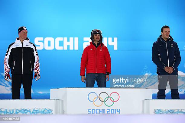 Silver medalist Ivica Kostelic of Crioatia gold medalist Sandro Viletta of Switzerland and bronze medalist Christof Innerhofer of Italy on the podium...
