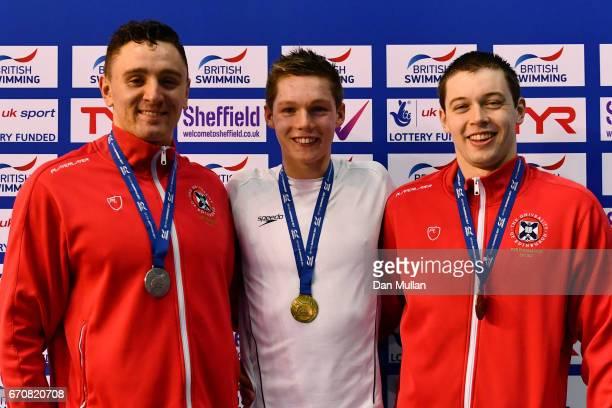 Silver medalist Jack Thorpe of Edinburgh Uni gold medalist Duncan Scott of Uni of Stirling and bronze medalist Kieran McGuckin of Edinburgh Uni pose...