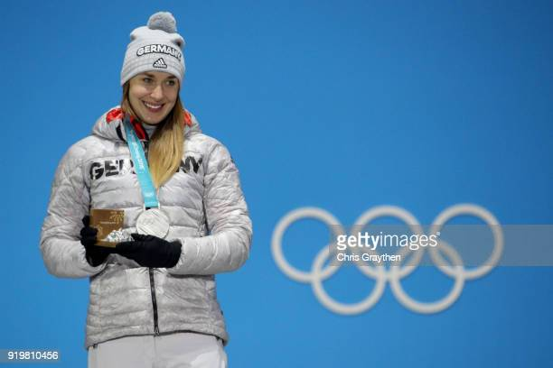 Silver medalist Jacqueline Loelling of Germany celebrates during the medal ceremony for the Women's Skeleton on day nine of the PyeongChang 2018...